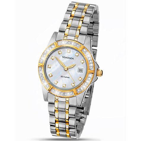 Buy Sekonda 4174.27 Women's Diamante Mother of Pearl Stainless Steel Bracelet Strap Watch, Silver/Gold Online at johnlewis.com
