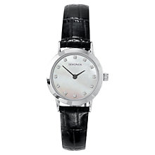Buy Sekonda 4439.27 Women's Mother of Pearl Leather Strap Watch, Black/Silver Online at johnlewis.com