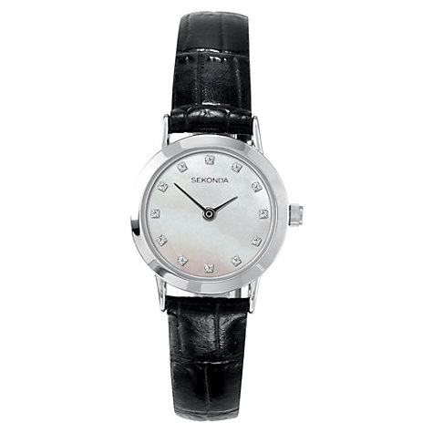 Buy Sekonda 4439.27 Women's Mother of Pearl Leather Strap Watch, Black / Silver Online at johnlewis.com