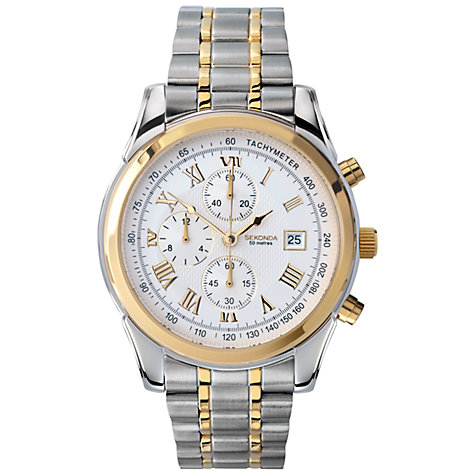 Buy Sekonda 3878.27 Men's Two Tone Chronograph Watch, Silver / Gold Online at johnlewis.com