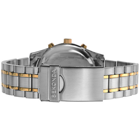 Buy Sekonda 3878.27 Men's Chronograph Two Tone Bracelet Strap Watch, Silver/Gold Online at johnlewis.com