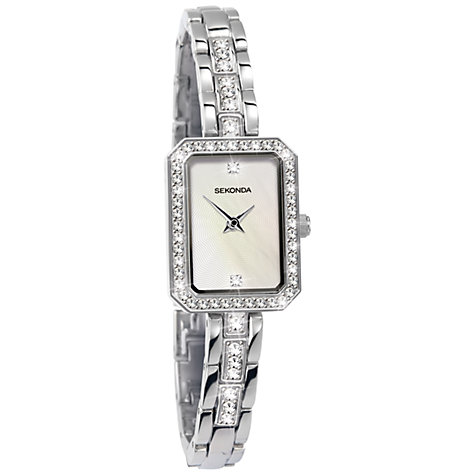 Buy Sekonda 4685.27 Women's Diamante Rectangular Bracelet Strap Watch, Silver Online at johnlewis.com
