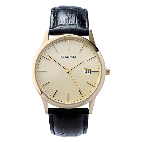 Buy Sekonda 3697.27 Men's Traditional Leather Strap Watch, Black/Cream Online at johnlewis.com