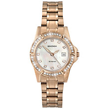 Buy Sekonda 4618.27 Women's Mother of Pearl Diamante Stainless Steel Bracelet Strap Watch, Rose Gold Online at johnlewis.com