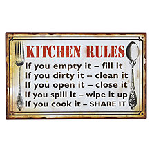 Buy John Lewis Kitchen Rules Plaque Online at johnlewis.com