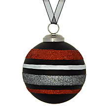 Buy John Lewis Glitter Strip Glass Bauble, Orange/Black Online at johnlewis.com