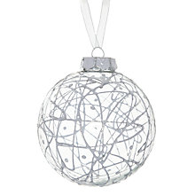 Buy John Lewis Scribble Glass Bauble, Silver Online at johnlewis.com