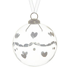 Buy John Lewis Etched Heart Glass Bauble, Clear Online at johnlewis.com