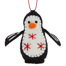 Buy John Lewis Felt Penguin Tree Decoration, Black Online at johnlewis.com