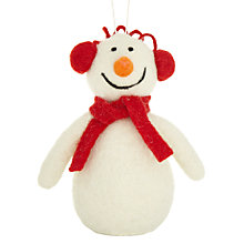 Buy John Lewis Felt Snowman With Headphones Tree Decoration, White Online at johnlewis.com