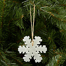 Buy John Lewis Alabaster Snowflake Tree Decoration, White Online at johnlewis.com