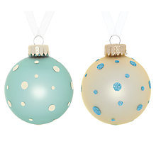 Buy John Lewis Dotty Glass Bauble, Pink/Cream, Assorted Online at johnlewis.com