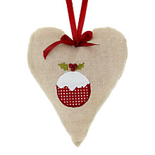 Buy Cambric & Cream Christmas Pudding Heart Tree Decoration Online at johnlewis.com