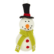 Buy John Lewis Felt Snowman With Hat Tree Decoration Online at johnlewis.com