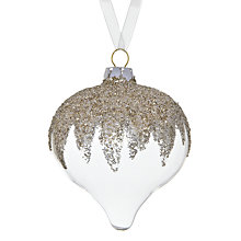 Buy John Lewis Glitter Topped Glass Onion Tree Decoration, Gold Online at johnlewis.com