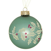 Buy John Lewis Holly Glass Bauble Online at johnlewis.com
