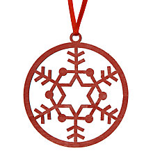 Buy House by John Lewis Laser Cut Snowflake Tree Decoration, Red Online at johnlewis.com