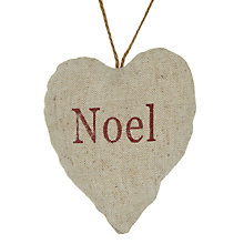Buy John Lewis Noel Padded Heart Tree Decoration, Brown Online at johnlewis.com