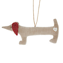 Buy Cambric & Cream Linen Dachshund Tree Decoration Online at johnlewis.com
