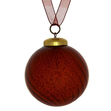 Buy John Lewis Mercurised Swirl Glass Bauble, Red Online at johnlewis.com