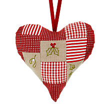 Buy Cambric & Cream Patchwork Heart Tree Decoration Online at johnlewis.com