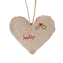Buy Cambric & Cream Mini Padded Heart Holly Tree Decoration Online at johnlewis.com