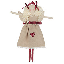 Buy Cambric & Cream Rural Angel In Linen Dress Tree Decoration Online at johnlewis.com
