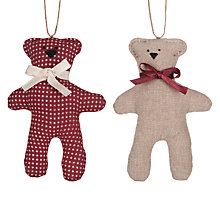 Buy Cambric & Cream Rural Teddy Tree Decoration, Assorted Online at johnlewis.com