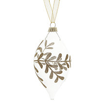 Buy John Lewis Glitter Leaf Teardrop Glass Bauble, Clear Online at johnlewis.com