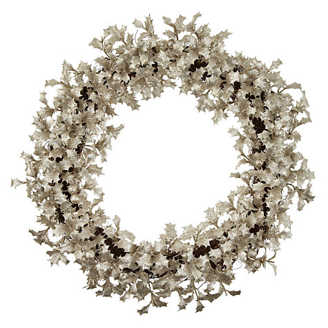 Buy John Lewis Holly Glitter Wreath, Gold Online at johnlewis.com