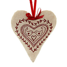 Buy Cambric & Cream Padded Dove Heart Tree Decoration Online at johnlewis.com