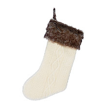 Buy John Lewis Knitted Christmas Stocking with Fur Cuff Online at johnlewis.com