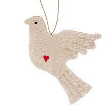 Buy Cambric & Cream Linen Dove Tree Decoration Online at johnlewis.com
