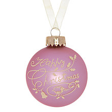 Buy John Lewis Merry Christmas Glass Bauble, Pink Online at johnlewis.com