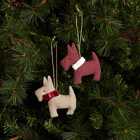 Buy Cambric & Cream Rural Scottie Dog Tree Decoration, Assorted Online at johnlewis.com