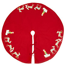 Buy John Lewis Santa Sleigh Christmas Tree Skirt, Red Online at johnlewis.com