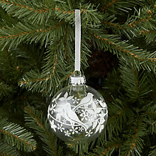 Buy John Lewis Glitter Bird Glass Bauble, White Online at johnlewis.com