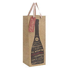 Buy John Lewis Champagne Hessian Effect Bottle Bag Online at johnlewis.com