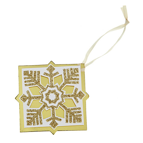 Buy John Lewis Flitter Snowflake Gift Tags, Pack of 4 Online at johnlewis.com