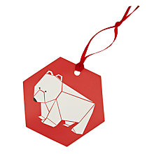 Buy John Lewis Origami Polar Bear Gift Tags, Pack of 8 Online at johnlewis.com