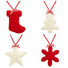 Buy John Lewis Padded Felt Tree Decorations, Set of 4 Online at johnlewis.com