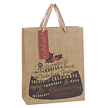 Buy John Lewis Pudding Hessian Effect Gift Bag, Medium Online at johnlewis.com