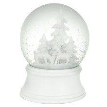 Buy John Lewis Woodland Snow Globe, White Online at johnlewis.com