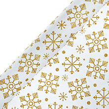 Buy John Lewis Gold Flitter Snowflake Gift Wrap, 3m Online at johnlewis.com
