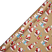Buy John Lewis Extra Wide Santa On Kraft Wrapping Paper, L4m Online at johnlewis.com