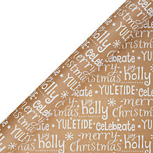Buy John Lewis Odyssey White Text Gift Wrap, 3m Online at johnlewis.com