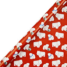 Buy John Lewis Origami Polar Bear Wrapping Paper, Red, L10m Online at johnlewis.com