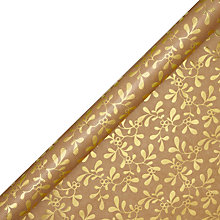 Buy John Lewis Mistletoe Gift Wrap, 3m, Gold Online at johnlewis.com