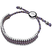 Buy Links of London Adjustable Cord Friendship Bracelet, Purple / Grey Online at johnlewis.com
