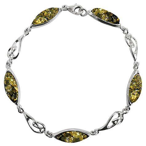 Buy Goldmajor Green Amber Sterling Silver Celtic Bracelet Online at johnlewis.com